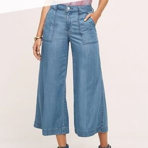 Level 99 Cropped Wide Leg Chambray Pants